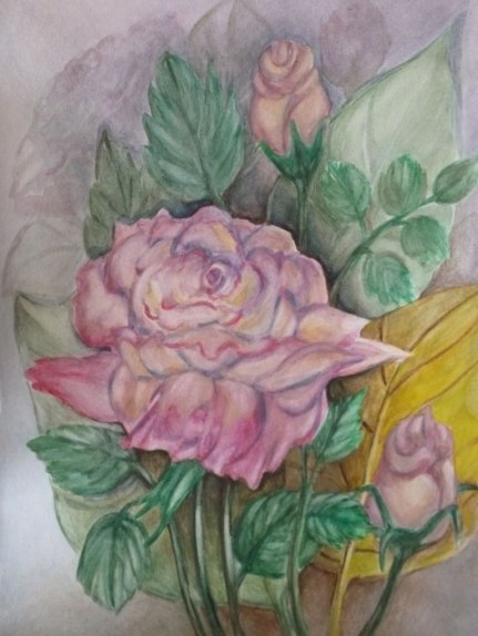 A Summer Rose, Watercolor, Roz Claffey