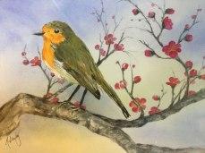 Alice Healy, Robin, Watercolor