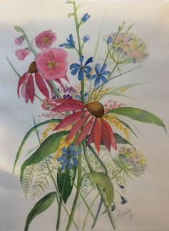 Alice Healy, Summer Flowers, Watercolor