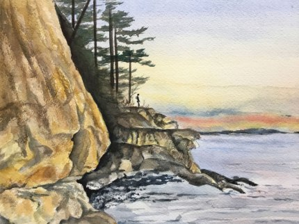 Chuckanut Shore, Watercolor, Alice Healy