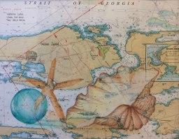 Exploring the Islands I, Christine Flacco, Colored Pencil on Nautical Charts