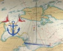 Exploring the Islands II, Christine Flacco, Colored Pencil on Nautical Charts
