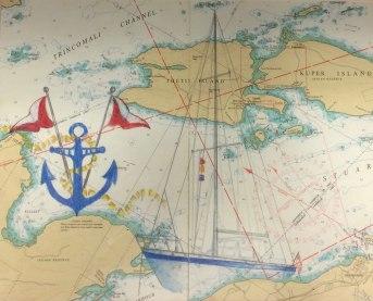 Exploring the Islands II, Christine Flacco, Colored Pencil on Nautical Charts
