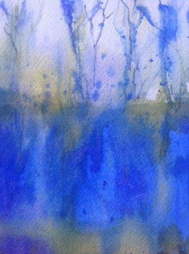 Field of Bluebells, Watercolor, Alice Healy