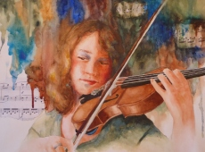 Must Be Mozart, Watercolor, Karen Peter