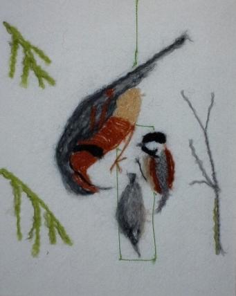 Penny Bamford, Winter Birds, Needle Felting