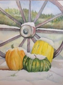 Snow on the Pumpkin, Watercolor, Alice Healy