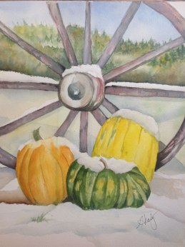 Snow on the Pumpkin, Watercolor, Alice Healy