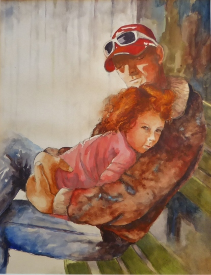 Time Out with Daddy, Karen Peter, Watercolor