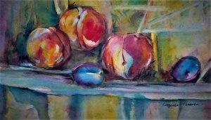 Virginia Heaven, Peaches and Plumbs, Watercolor