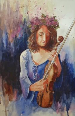 Waiting to Go On, Karen Peter, Watercolor