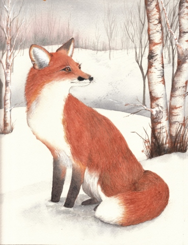 Winter Fox, Watercolor, Karen Peter