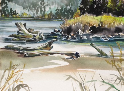 Dogs View of the 5th Hole, Watercolor, Virginia Heaven