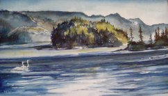 Morning Beach, Watercolor, Virginia Heaven
