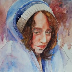 Karen Peter, Chilly Blues, Watercolor