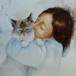 Karen Peter, Kitty Kisses, Watercolor