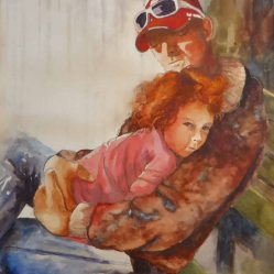 Karen Peter, Time Out With Daddy, Watercolor