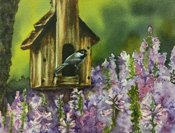 Eva Wojnar, Home Sweet Home, Watercolor
