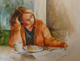 Karen Peter, Rainy Day Breakfast, Watercolor