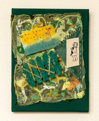 Lee Langdon, Fabric Collage, She Mended Fences