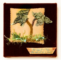 Lee Langdon, Fabric Collage, She Went Out on a Limb