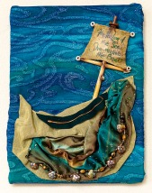 Lee Langsdon, Fabric Collage, She Rocked the Boat