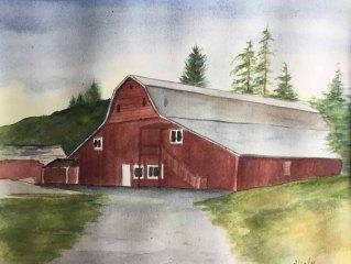 Alice Healy, Barn, Watercolor