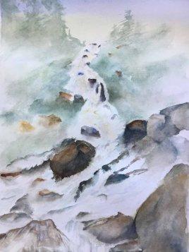 Alice Healy, Flowing Water, Watercolor