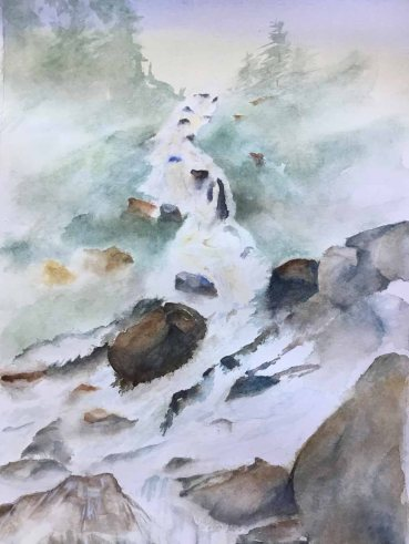 Alice Healy, Flowing Water, Watercolor