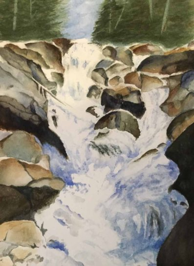 Alice Healy, Waterfall, Watercolor