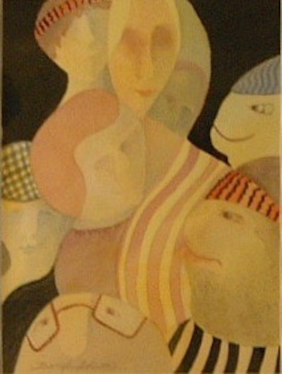 Beryl Adams, Clan Acceptance, Watercolor, Clubhouse exhibit