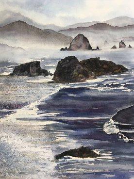Eva Wojnar, Cannon Beach, Watercolor