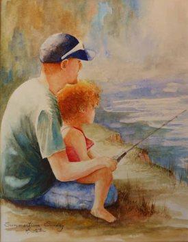 Karen Peter, Summertime Sunday, Watercolor