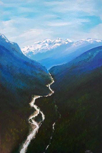 Sarah Lane, Peak to Peak, Whistler, Acrylic
