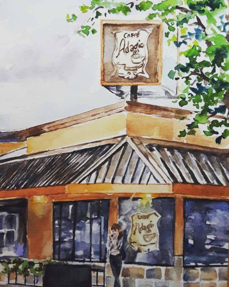 Sarah Lane, Café Adagio, Watercolor