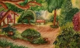 library-garden-roz-claffey-watercolor